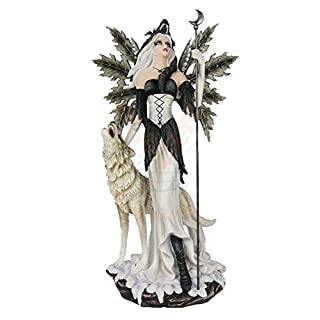 Fairy Figurine with Wolf–Guard of the Moon Large