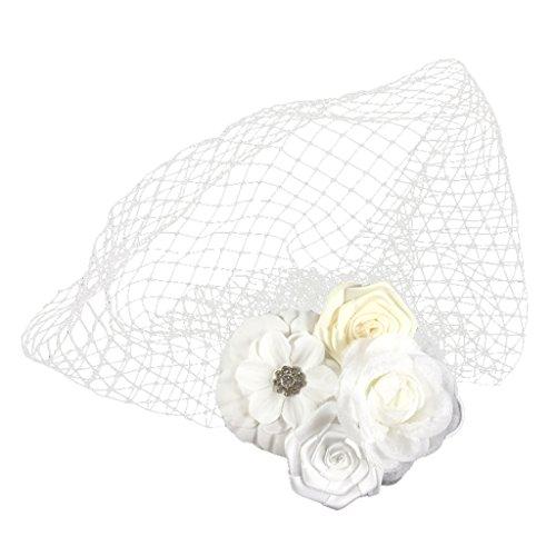 Gazechimp Blume Birdcage Fascinator Stirnband für Frauen Hochzeit Braut - Weiße Rosen-Blumen, 25 x 25 cm (Stirnband Birdcage)