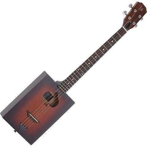 Cigar Box 4String Acoustic Guitar, Solid Spruce Top, Delta Blues Guitar–CBG Guitar