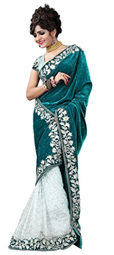 Clickedia Women's Stylish Green and White Half and Half Embroidered Pure Velvet and brasso saree with blouse piece  available at amazon for Rs.299