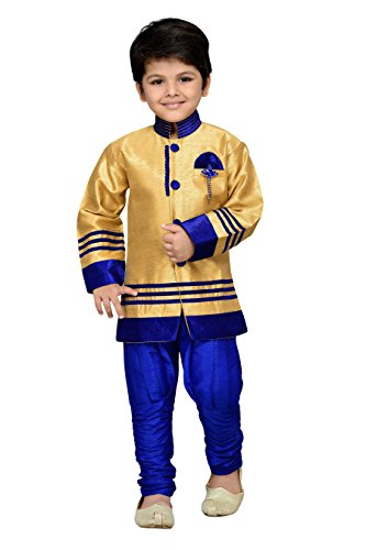 AJ Dezines Kids Sherwani Set for Boys (629_BLUE_5)