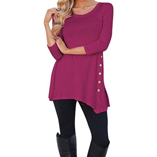 Hevoiok Damen Einfarbig Lose Knopf Oberteile, Neu Mode Plus Größe Freizeit Frühling Rundhals T Shirt Trim Hemdbluse Frauen Langarm Tunika Hemd Bluse Tops (Hot Pink, 2XL) (Asymmetrische Knopf)