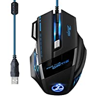 ZELOTES Ratón Gaming con Cable Profesional USB 5500 DPI con 5 Colores Ajustable RGB y 7 Botón Compatible con Windows 7, 8, 10, XP, Vista, ME, 2000 y Mac OS