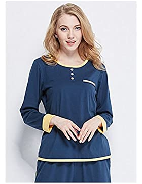 Autunno maniche lunghe in cotone pigiama regolari semplici colore solido pantaloni a maniche lunghe maglione di...