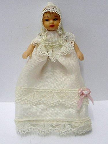Puppe Baby im weissen Taufkleid für die Puppenstube Puppenhaus Miniatur 1:12 Porzellan Puppe Baby