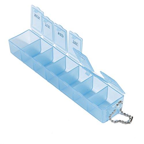 41VungUbAiL - Caja de pastillas semanal de 7 días, organizador del dispensador de medicamentos de almacenamiento