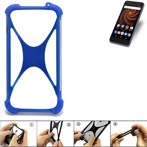 K-S-Trade Bumper Allview X4 Soul Mini S Silikon Schutz Hülle Handyhülle Silikoncase Softcase Cover Case Stoßschutz, blau (1x)