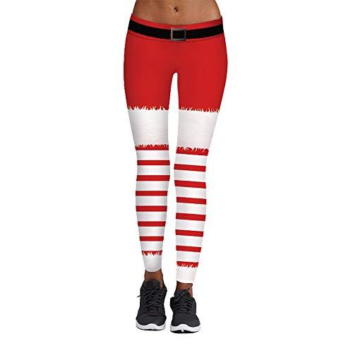 AmyGline Damen Casual Weihnachten Print Leggings Elastizität Strumpfhosen Leggings Yogahosen
