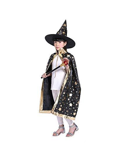 Halloween Kostüme Hexe Zauberer Umhang mit Hut für Kinder Kinder Jungen Mädchen Halloween Requisiten Set (Zauberer-kostüm Für Jungen)