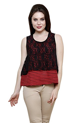 Renka Carrot Round Neck Poly Cotton Lace Crop Tops For Women