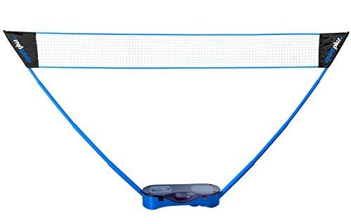 SportPlus Volleyballnetz inkl. Badmintonschläger und Federbällen im Tragekoffer mit Griff, Netzhöhe ca. 1,55 x 2,95 m (HxB), Badmintonnetz für den Garten, SP-NET-011