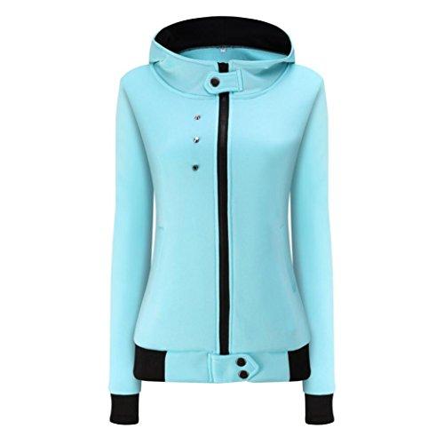 Gefütterter Gesteppte Jeans (Sonnena Fashion Frauen Herbst Winter Samt Warm Coat Hoodie Jacke, Knielänge M blau)