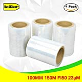 4 x Pack stretch Wrap rotoli trasparente by NET4CLIENT – Pacco scatole Wrap cling film stretch rotoli Fast Strong imballaggio 100 mm 150 m FI38 23ΜM
