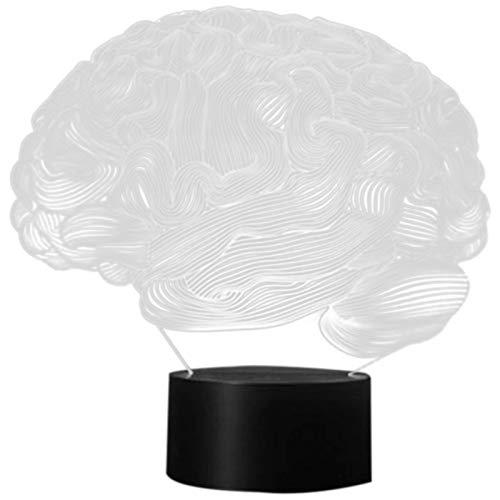 TOOGOO Gehirn Form 3D Illusion Lampe 7 Farbwechsel Drücken Schalter LED Nachtlicht Acryl Schreibtischlampe Atmosph?re Lampe Neuheit Beleuchtung