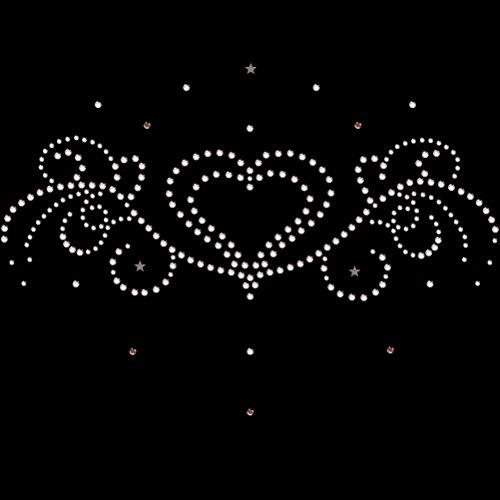 Strass Motiv Herz-Ornament hotfix Strasssteine zum Aufbügeln Bügelbild