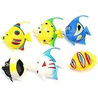 Lecimo Paquete de 6 colores surtidos de plástico artificial de burbujas de la lámpara de acuario