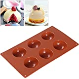 BESTOMZ Non-Stick Silicone Cake Pop Mould Baking Tray for Cupcake Muffin Chocolate Ice Bomb Mould 6-Cup