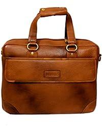 "AYS Stylish 15.5"" Genuine Pure Leather Laptop Sleeve Messenger Office Bag"