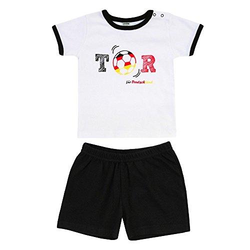 Jacky, Unisex Shirt + Short, Tor Deutschland-Muster, WM 2018, Weiß/Schwarz, 330092, Größe 104 (Em T-shirt Schwarzes)