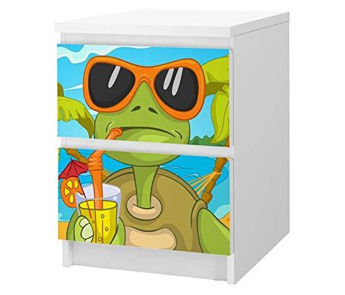 Set Möbelaufkleber für Ikea Kommode MALM 2 Fächer / Schubladen Eidechse grün Urlaub Sonnenbrille Tier Kat2 Kinderzimmer ML2 Aufkleber Möbelfolie sticker (Ohne Möbel ) Folie 25F2512, MALM 2 Fächer:MALM 2 Fächer