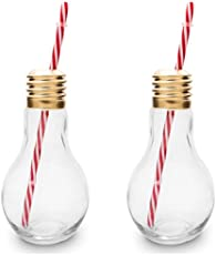 Hua You Food Grade Glass Multi Purpose Glassware with Light Bulb with Straw (250ml, Multicolour) - Set of 2