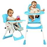 Baby hög stol justerbar booster säte småbarn stol med matbord säkerhet PU stolar för spädbarn BLÅ