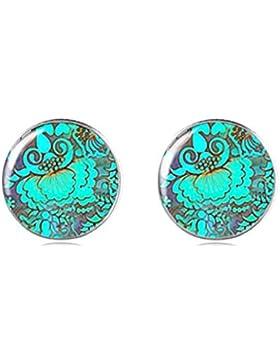 Tizi Jewellery Handgemachte Blaue Blume 925 Sterling Silber Ohrringe Ohrstecker 12 mm für Damen und Mädchen Geschenk...
