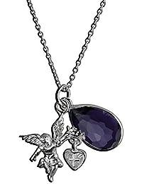 Collier AE finesse, 925 Silber - Sterling Silber, Anhänger / Engel-Motiv / Zirkonia violett