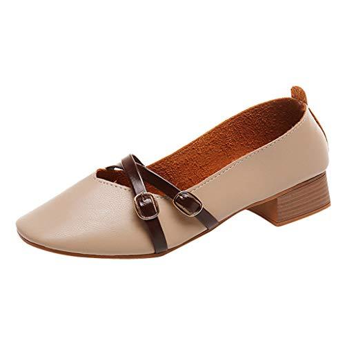 Dorical Quadratischer Kopf Schuhe Für Damen Plus Size Leichte Schuhe/Faule Freizeit Schuhe/Für Frauen Over Size Schuhe/Feste Schuhe/Geeignet für Strandfahrten, Fahren(Beige,35 EU)