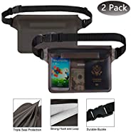 Outdoors Waterproof Pouch 2Pcs with 3-Zipper and Adjustable Waist Strap, Screen Touchable Dry Bag IPX8 Certifi
