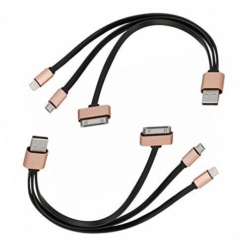 Preisvergleich Produktbild Micro USB Ladekabel + Lightning kabel + 30 Pin Kabel ,  LOMATEE 2 Stk.3 in 1 Ladekabel für iPhone 4 5 6 7,  Samsung Galaxy und alle Andriod Smartphone,  iPad,  iPod,  Laptop,  Tablet