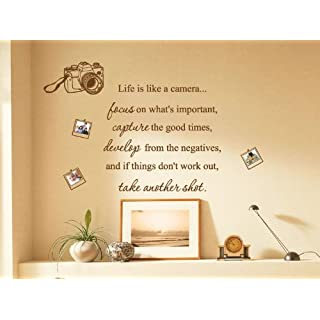 Small Life Is Like a Camera Photo Family Art Wall Quotes/Wall Stickers/Wall Decals-Dark grey
