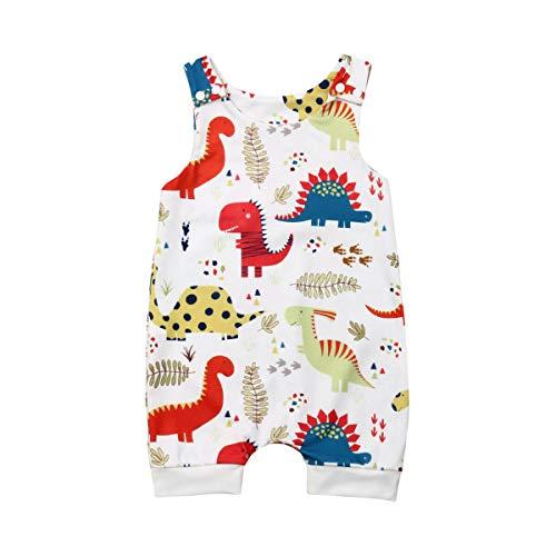 CIPOGL Babykleidung Säuglingsbaby Jungen Mädchen Süß Dinosaurier Drucken Ärmellos Strampler Jumpsuits Sommer Baby Spielanzug Bodys Einteiler Overall Baby Kleidung (0-6M)