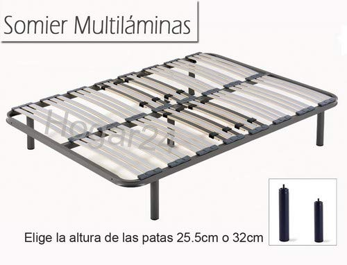 HOGAR 24 Somier Multiláminas con Reguladores Lumbares + Juego De 5 Patas De 32cm, 135x190cm