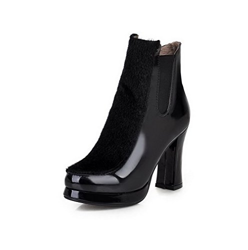 AgooLar Damen Blend-Materialien Niedrig-Spitze Rein Elastic Band Hoher Absatz Stiefel Schwarz