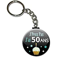 j' Peux pas j' ai 50 Ans Porte Clés Chaînette 3,8 centimètres Idée Cadeau Accessoire Humour Anniversaire Birthday Excuse