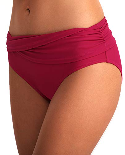 YOSUNL Damen Bikini Bottom Front Crossover Retro Bikini Bottom Tankini Slip Badeanzug Panty Hose (mittlere Hose) - Pink - X-Large -