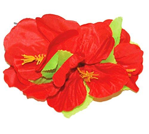 Hawaii Blumen Haarspange - Rot - Dekorative Blüten zum Hula oder Südsee Party (Kostüme Südsee)