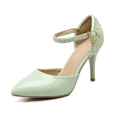 AllhqFashion Women's Buckle Pointed Closed Toe Spikes-Stilettos Pu Assorted Color Pumps Shoes, Green, 34