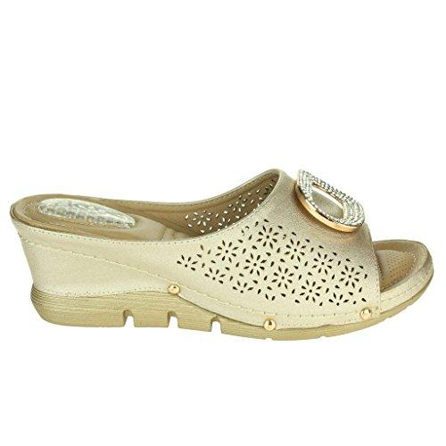 Femmes Dames Talons Coussin Casual Doux Confort Absorption de choc Enfiler Respirant Doublure Talon Compensé Sandales Chaussures Taille Or