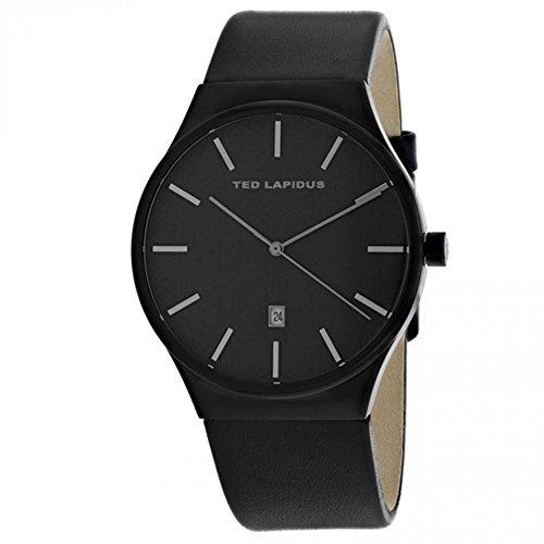 Ted Lapidus Classic Homme 42mm Bracelet Cuir Noir Quartz Montre 5131703