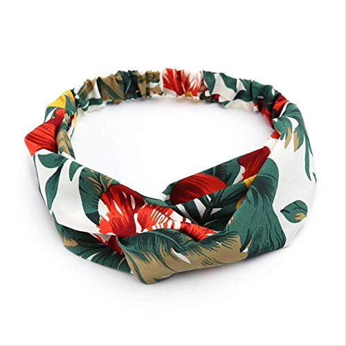 JING Kopfbedeckung Retro Floral Bedruckte Damen Classic Cross Haarbänder HeadwearGrün
