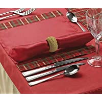 Placemats set of 4 Christmas Table Red and Gold Satin with Organza Tartan Edge