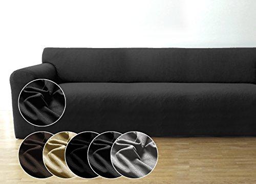 Bellboni Couchhusse, Sofabezug, bi-elastische Stretchhusse, Spannbezug für viele gängige 3er Sofas, anthrazit