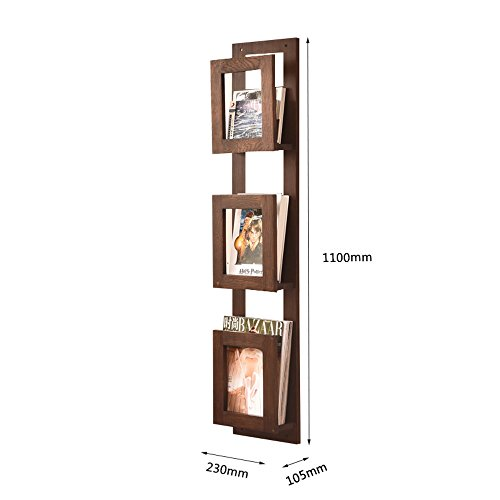 Porte-magazines et porte-journaux Solid Wood On The Wall Bookstand Bookshelf Newspaper Stand Creative Display Stand Incorporated Wall Mount Magazine Étagères (Couleur : Marron, taille : 110cm)
