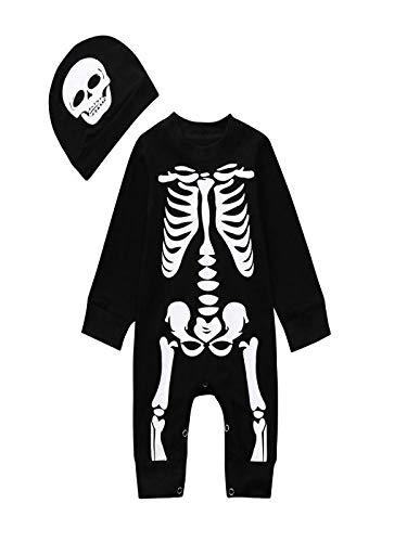 Yesmile Kinder Halloween Kleidung Skelett Drucken Playsuit Bekleidung Baby Kinderkleidung Anzüge Jungen Mädchen Brief Langarm Pyjama 2018 Babykleidung Set (6-24Monate)