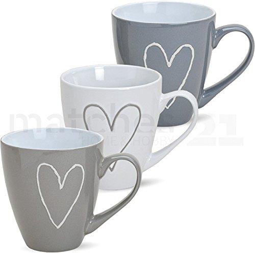 matches21 Große Jumbo Tassen Kaffeetassen Herzen Herzdekor grau beige weiß Keramik 3-tlg. Set 11 cm / 400 ml SONDERPREIS