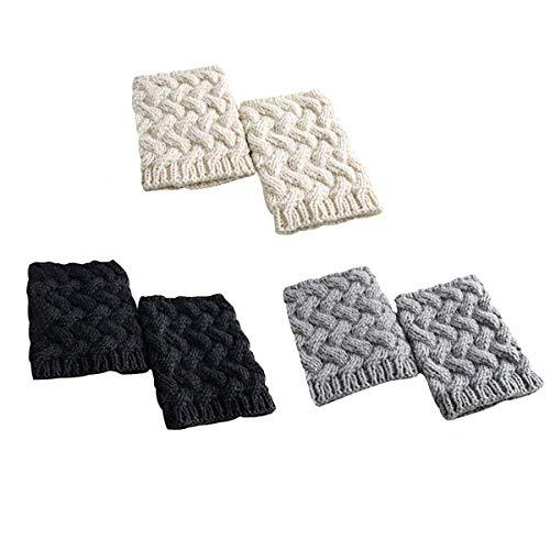 LADES DIRERCT Damen Stulpen Socken - Winter Kurze Stricken Stulpen Gestrickte Beinwärmer Leg Warmers Socken Stiefel Boot Abdeckung (Schwarz+Weiß+Grau)