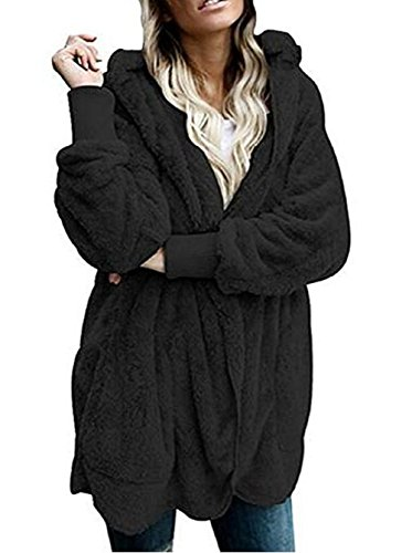 Shujin Damen Winter Warm Plüsch Teddy-Fleece Mantel Outwear Cardigan Langarm Casual Kapuzenjacke Baggy Parka Trench Coat mit Taschen (M, Schwarz) (Fleece-cardigan)