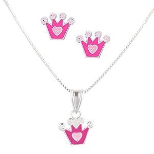 FIVE-D Set Kette Kinder Ohrringe Anhänger Krone mit Herz 925 Silber in Geschenkbox